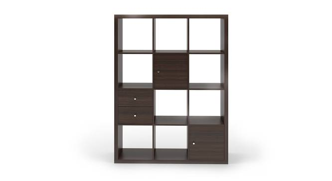 Boeberg Bookshelf (Dark Walnut Finish, 4 x 3 Configuration, 2 Cabinet, 1 Drawers Inserts) by Urban Ladder