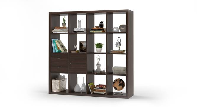 Boeberg Bookshelf (Dark Walnut Finish, 4 x 4 Configuration, 1 Cabinet, 1 Drawers Inserts) by Urban Ladder