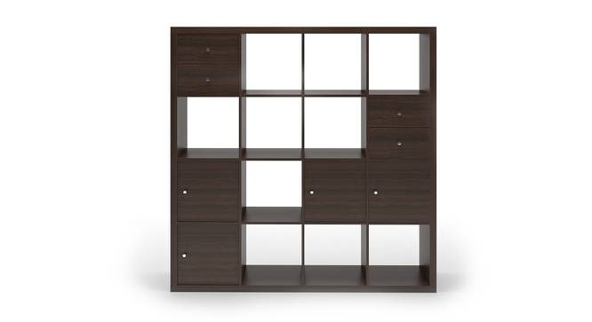 Boeberg Bookshelf (Dark Walnut Finish, 4 x 4 Configuration, 4 Cabinet, 2 Drawers Inserts) by Urban Ladder