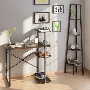 Wallace Study Table - Bookshelf Bundle (Wenge Finish, Corner Bookshelf) by Urban Ladder