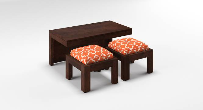 Kivaha 2-Seater Coffee Table Set (Walnut Finish, Morocco Lattice Rust) by Urban Ladder