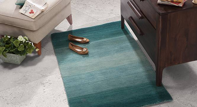 "Aurora Hand Loom Carpet (48"" x 72"" Carpet Size, Teal) by Urban Ladder"