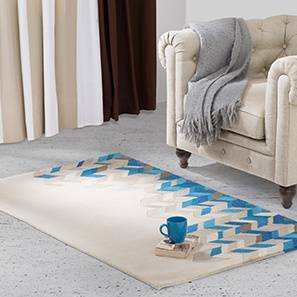 "Matelski Hand Tufted Carpet (122 x 183 cm  (48"" x 72"") Carpet Size, Sea Blue) by Urban Ladder - Design 1 Full View - 148504"