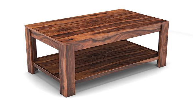 Striado Coffee Table (Teak Finish, With Shelves Configuration) by Urban Ladder - Front View Design 1 - 149549