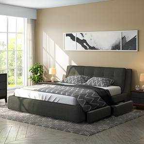 Stanhope Upholstered Storage Bed King Size Charcoal Grey