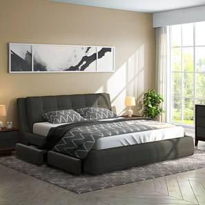 Stanhope Upholstered Storage Bed (King Bed Size, Charcoal Grey) by Urban Ladder