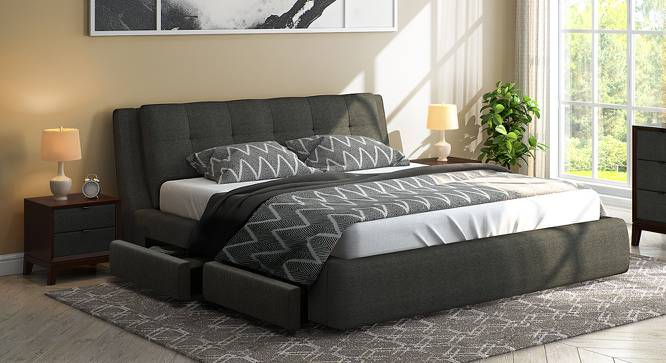 Stanhope Upholstered Storage Bed (Queen Bed Size, Charcoal Grey) by Urban Ladder