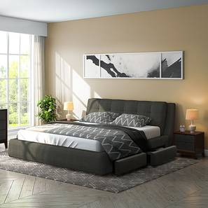 Stanhope Upholstered Storage Essential Bedroom Set (Queen Bed Size, Charcoal Grey) by Urban Ladder