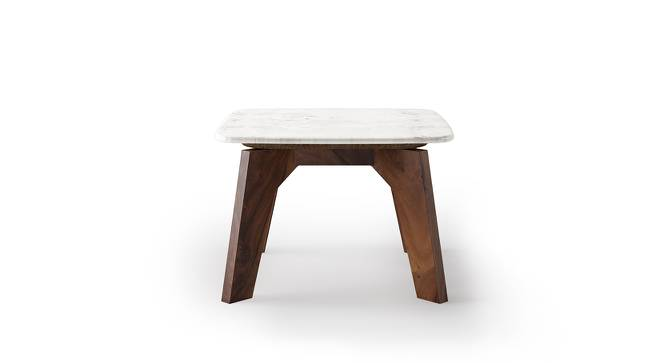 Galatea Marble Side Table (Teak Finish) by Urban Ladder
