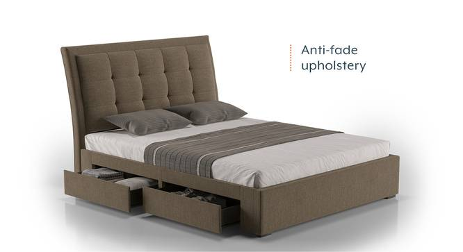 Thorpe Upholstered Storage Bed (King Bed Size, Mist Brown) by Urban Ladder