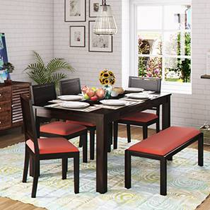 Arabia xl storage zella 6 seater dining table set with upholstered bench mahogany burnt orange lp