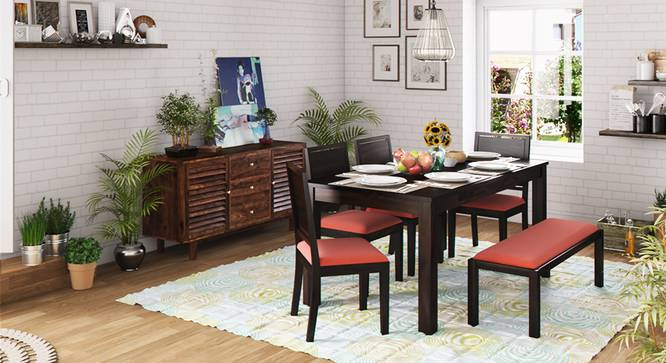 Arabia XL Storage - Oribi 6 Seater Dining Table Set (With Upholstered Bench) (Mahogany Finish, Burnt Orange) by Urban Ladder