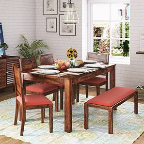 Arabia xl storage zella 6 seater dining table set with upholstered bench teak burnt orange lp