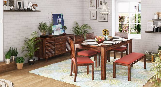 Arabia XL Storage - Oribi 6 Seater Dining Table Set (With Upholstered Bench) (Teak Finish, Burnt Orange) by Urban Ladder