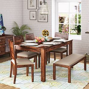Arabia xl storage zella 6 seater dining table set with upholstered bench teak wheat brown lp