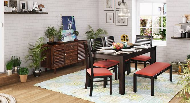 Arabia XL Storage - Zella 6 Seater Dining Table Set (With Upholstered Bench) (Mahogany Finish, Burnt Orange) by Urban Ladder