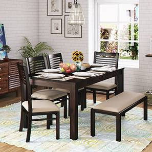 Arabia xl storage oribi 6 seater dining table set with upholstered bench mahogany wheat brown lp