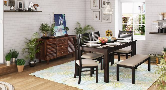 Arabia XL Storage - Zella 6 Seater Dining Table Set (With Upholstered Bench) (Mahogany Finish, Wheat Brown) by Urban Ladder - Full View - 151026