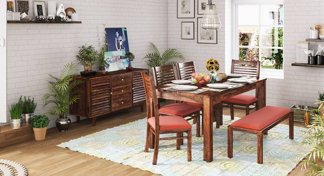 Arabia XL Storage - Zella 6 Seater Dining Table Set (With Upholstered Bench) (Teak Finish, Burnt Orange) by Urban Ladder - Full View - 151046