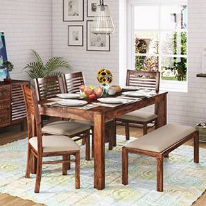 Arabia XL Storage - Zella 6 Seater Dining Table Set (With Upholstered Bench) (Teak Finish, Wheat Brown) by Urban Ladder - Full View - 151066