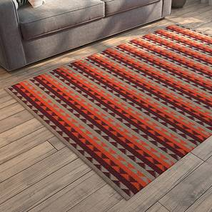 "Sayan Dhurrie (91 x 152 cm  (36"" x 60"") Carpet Size, Orange & Maroon) by Urban Ladder - Design 1 Full View - 153558"