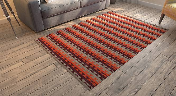 "Sayan Dhurrie (91 x 152 cm  (36"" x 60"") Carpet Size, Orange & Maroon) by Urban Ladder - - 153559"