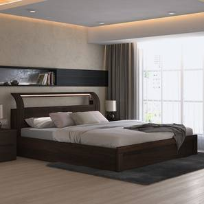 Sutherland Hydraulic Storage Smart Bed (King Bed Size, Dark Walnut Finish) by Urban Ladder - Full View Design 1 - 153644