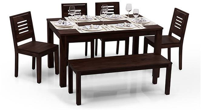 Arabia XL Capra 6 Seater Dining Sets(With Bench) (Mahogany Finish) by Urban Ladder