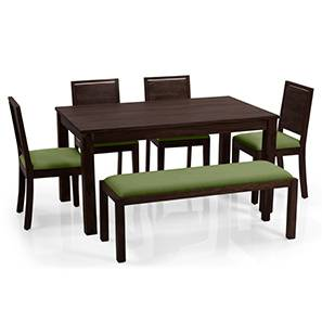 Arabia - Oribi 6 Seater Dining Set (With Bench) (Mahogany Finish, Avocado Green) by Urban Ladder - Full View - 153718