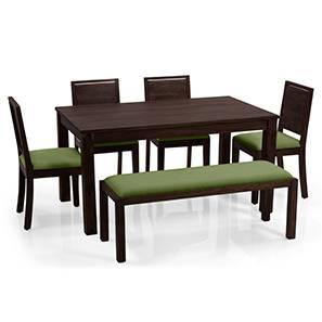 Arabia XL - Oribi 6 Seater Dining Set (With Bench) (Mahogany Finish, Avocado Green) by Urban Ladder