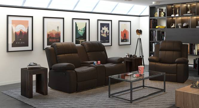 Robert Motorized Home Theatre Rocker Recliner Sofa (Chocolate Leatherette) by Urban Ladder - Full View Design 1 - 154476