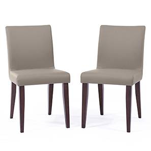 Persica Dining Chair - Set of 2 (Beige, Dark Walnut Finish) by Urban Ladder