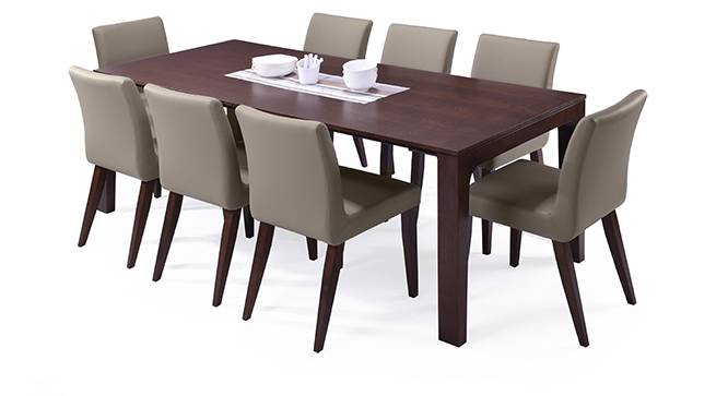 Arco - Persica 8 Seater Dining Table Set (Beige, Dark Walnut Finish) by Urban Ladder - Design 2 Half View - 154676