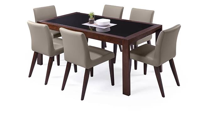 Vanalen 6-to-8 Extendable - Persica 6 Seater Dining Table Set (Beige, Dark Walnut Finish) by Urban Ladder - Design 1 Half View - 154687