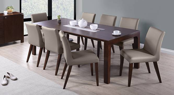 Vanalen 6-to-8 Extendable - Persica 8 Seater Dining Table Set (Beige, Dark Walnut Finish) by Urban Ladder