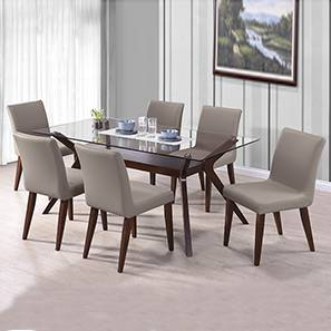 Wesley - Persica(Leatherette) 6 Seater Glass Top Dining Table Set (Beige, Dark Walnut Finish) by Urban Ladder