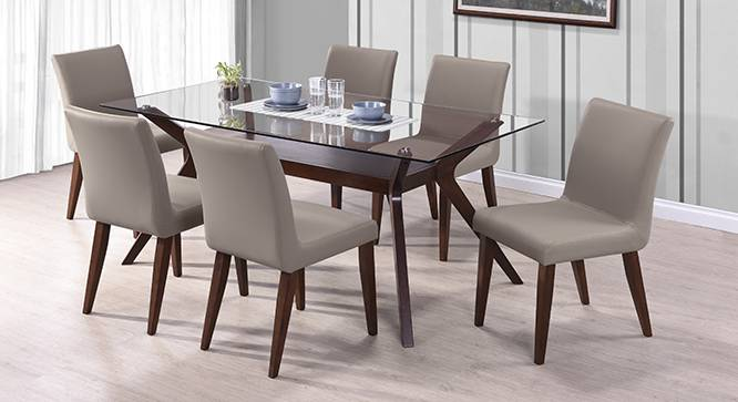 huge discount eb771 dee25 Wesley - Persica(Leatherette) 6 Seater Glass Top Dining Table Set
