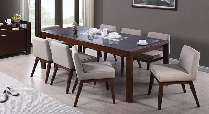 Vanalen 6-to-8 Extendable - Leon 8 Seater Dining Table Set (Beige, Dark Walnut Finish) by Urban Ladder