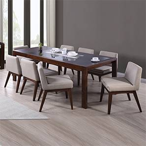 Vanalen 6-to-8 Extendable - Leon 8 Seater Dining Table Set (Beige, Dark Walnut Finish) by Urban Ladder
