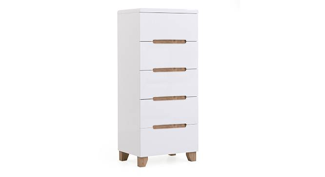 Oslo High Gloss Tall Chest Of Five Drawers (White Finish) by Urban Ladder - Front View Design 1 - 155308