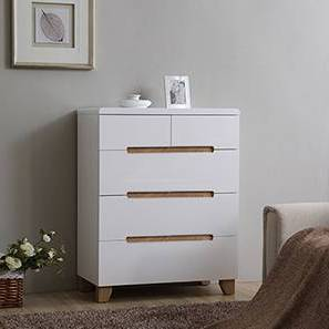 Oslo High Gloss Chest Of Five Drawers (White Finish) by Urban Ladder - Design 1 Full View - 155317