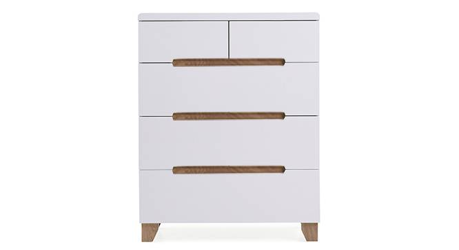 Oslo High Gloss Chest Of Five Drawers (White Finish) by Urban Ladder - Front View Design 1 - 155318