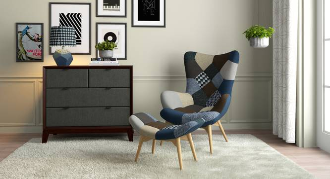 Contour Chair & Ottoman Replica (Indigo Patch Work) by Urban Ladder - Design 1 Full View - 155392