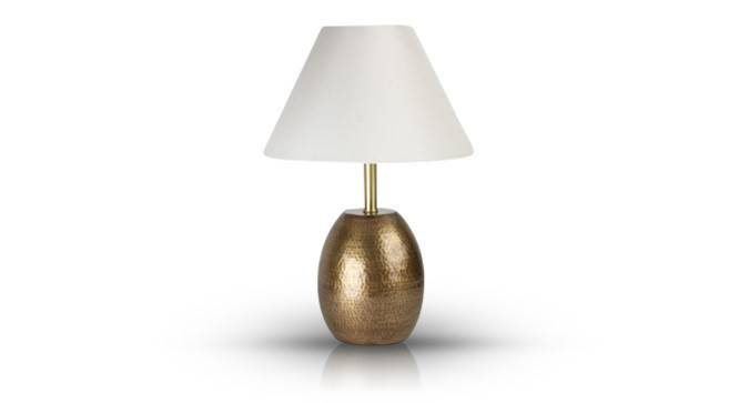 Drachen Table Lamp (Antique Brass Base Finish, White Shade Color, Conical Shade Shape) by Urban Ladder - Front View Design 1 - 155502