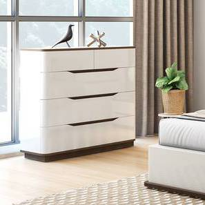 Baltoro High Gloss Chest Of Five Drawers (White Finish) by Urban Ladder - Design 1 - 155631