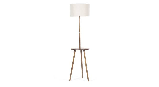 Faraday Floor Lamp with Side Table (Natural Linen Shade Colour, Light Walnut Base Finish) by Urban Ladder - Front View Design 1 - 156129