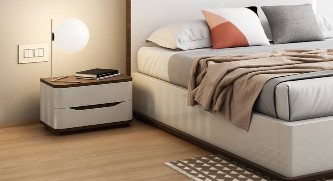 Baltoro High Gloss Bedside Table (White Finish) by Urban Ladder - Full View Design 1 - 156485