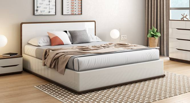 Baltoro High Gloss Hydraulic Storage Bed (King Bed Size, White Finish) by Urban Ladder