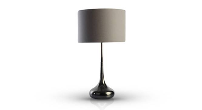 Forge Table Lamp (Black Base Finish, Cylindrical Shade Shape, Grey  Shade Color) by Urban Ladder - Design 1 Full View - 157416