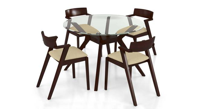 Wesley Thomson 4 Seater Round Glass Top Dining Table Set Beige